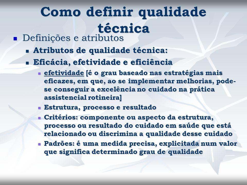Como definir qualidade técnica Definições e atributos Definições e atributos Atributos de qualidade técnica: Atributos de qualidade técnica: Eficácia,