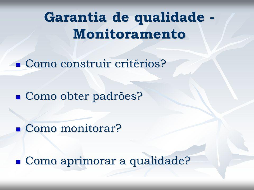 Como construir critérios? Como construir critérios? Como obter padrões? Como obter padrões? Como monitorar? Como monitorar? Como aprimorar a qualidade