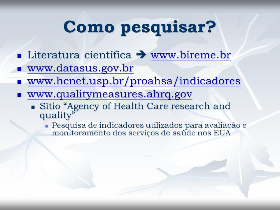 Como pesquisar? Literatura científica www.bireme.br Literatura científica www.bireme.brwww.bireme.br www.datasus.gov.br www.datasus.gov.br www.datasus