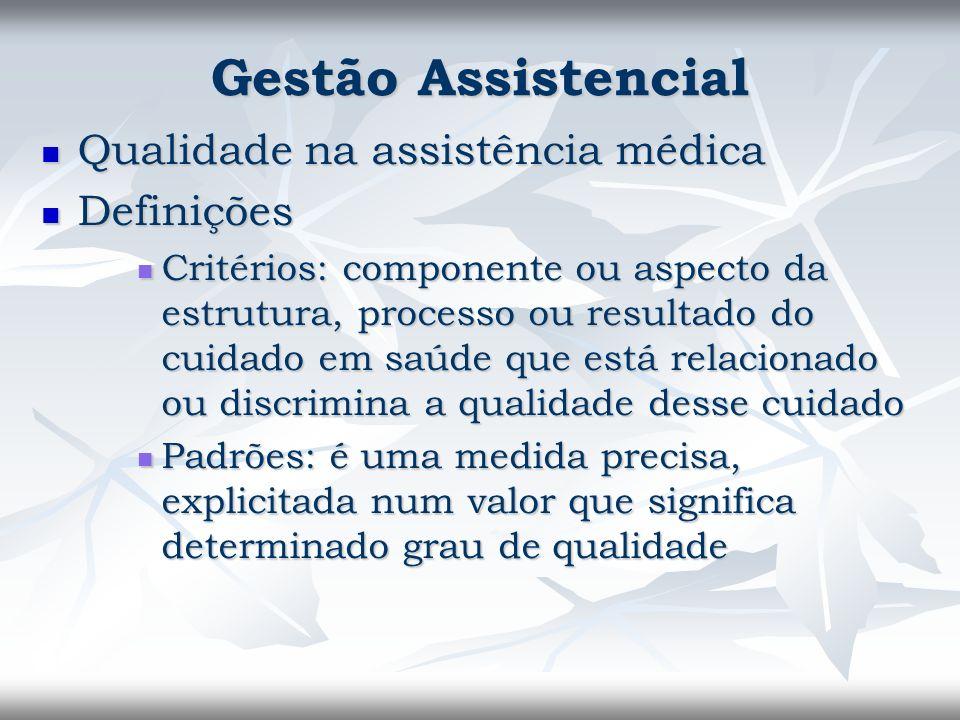 Gestão Assistencial Qualidade na assistência médica Qualidade na assistência médica Definições Definições Critérios: componente ou aspecto da estrutur