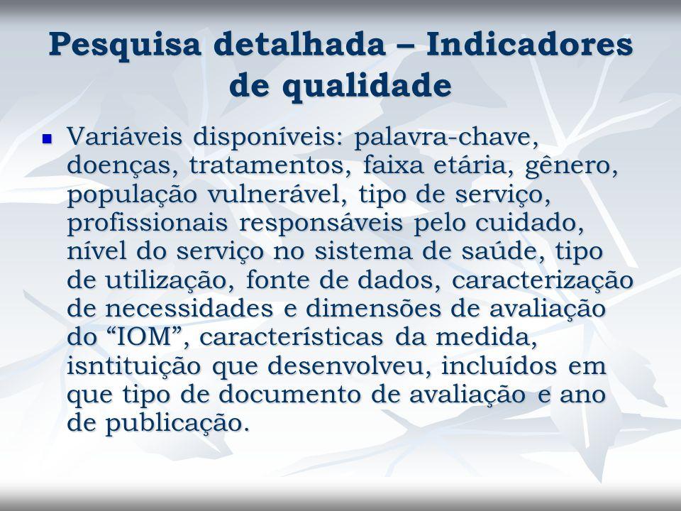 Pesquisa detalhada – Indicadores de qualidade Variáveis disponíveis: palavra-chave, doenças, tratamentos, faixa etária, gênero, população vulnerável,