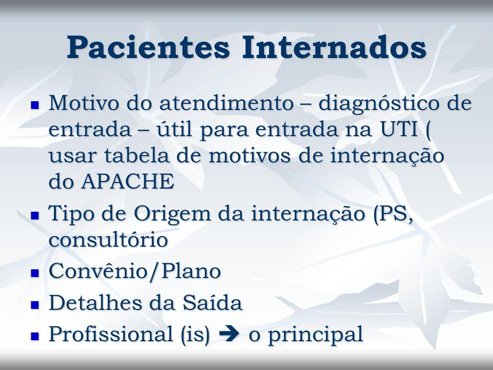 Pacientes Internados Motivo do atendimento – diagnóstico de entrada – útil para entrada na UTI ( usar tabela de motivos de internação do APACHE Motivo