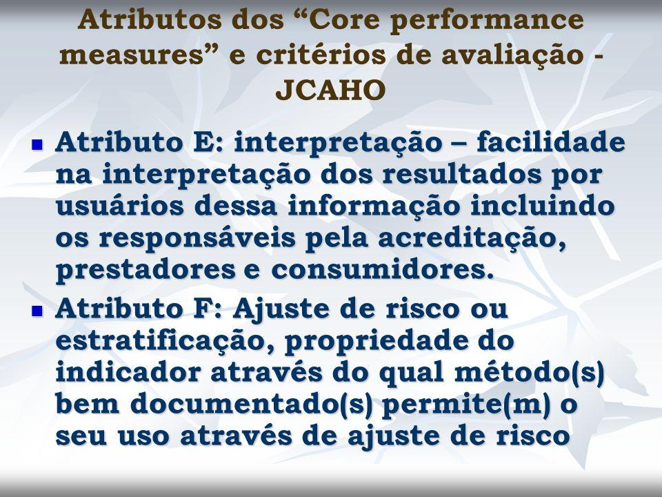 Atributos dos Core performance measures e critérios de avaliação - JCAHO Atributo E: interpretação – facilidade na interpretação dos resultados por us