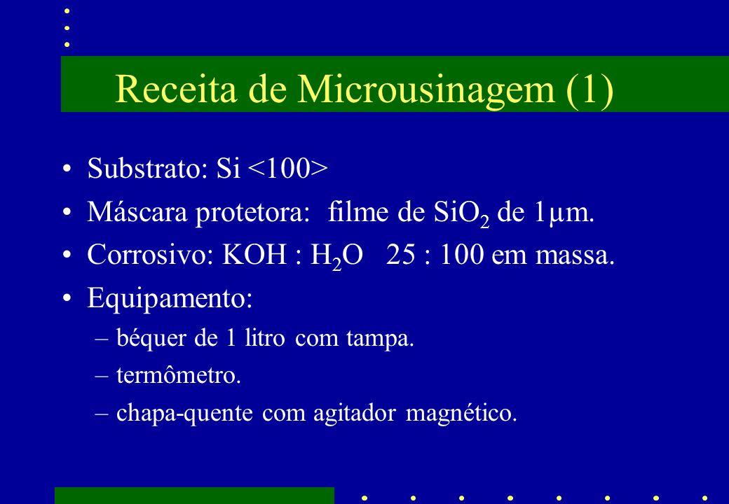 Receita de Microusinagem (1) Substrato: Si Máscara protetora: filme de SiO 2 de 1µm. Corrosivo: KOH : H 2 O 25 : 100 em massa. Equipamento: –béquer de