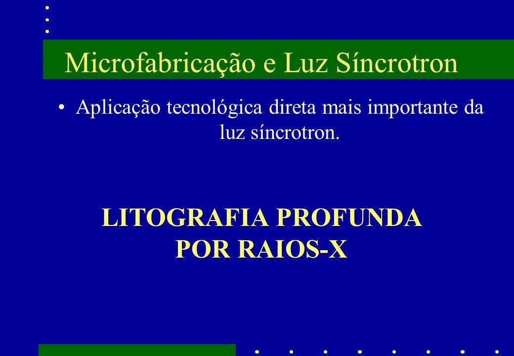 Microfabricação e Luz Síncrotron Aplicação tecnológica direta mais importante da luz síncrotron. LITOGRAFIA PROFUNDA POR RAIOS-X