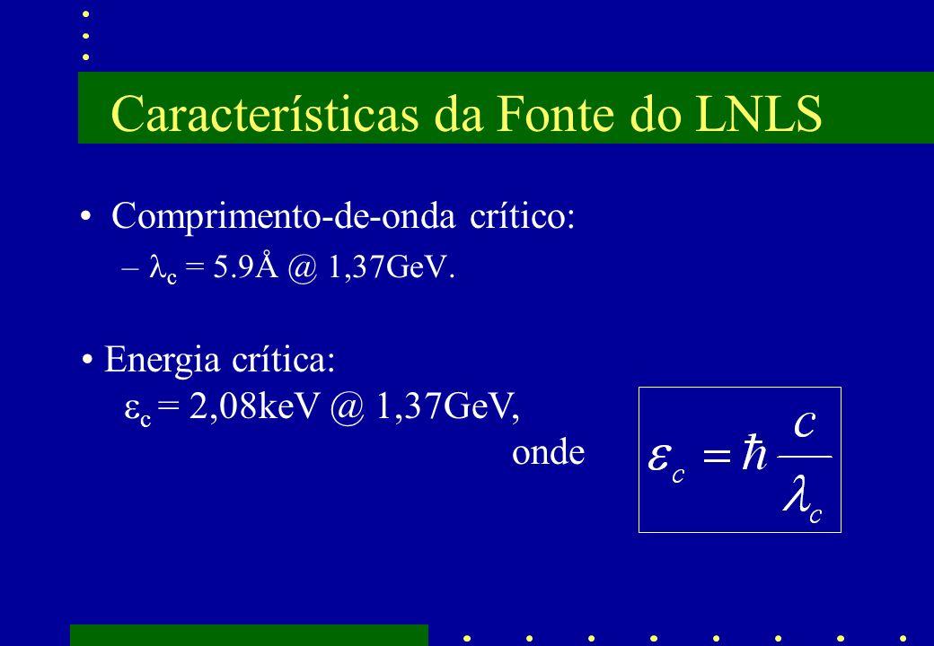 Características da Fonte do LNLS Comprimento-de-onda crítico: – c = 5.9Å @ 1,37GeV. Energia crítica: c = 2,08keV @ 1,37GeV, onde