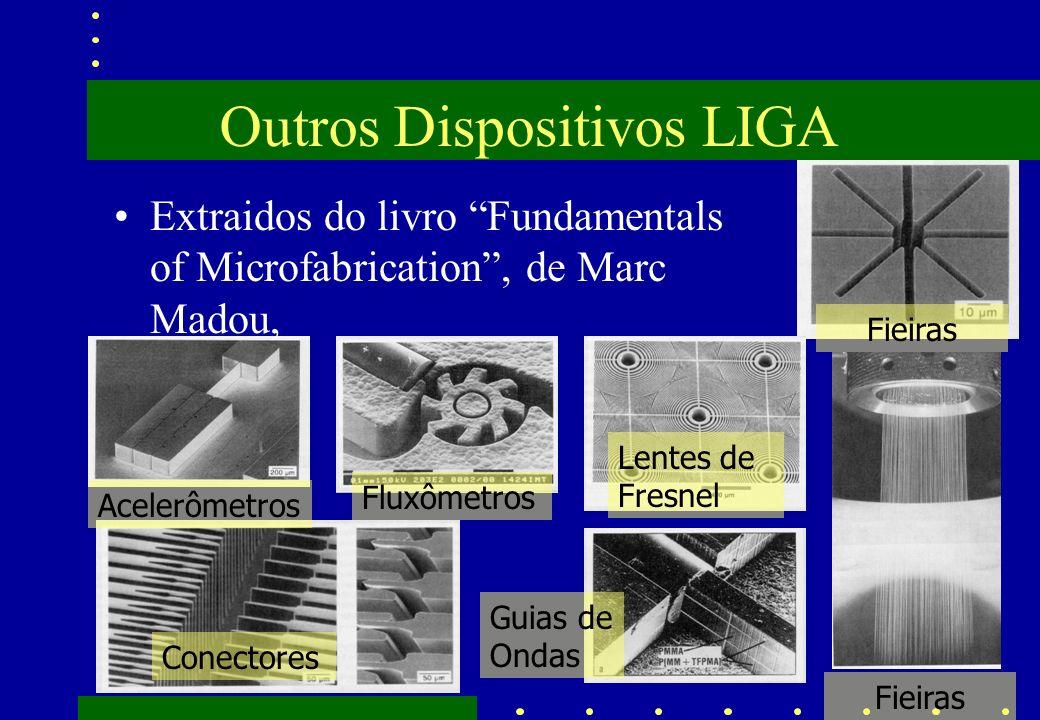 Outros Dispositivos LIGA Extraidos do livro Fundamentals of Microfabrication, de Marc Madou, Acelerômetros Fluxômetros Lentes de Fresnel Fieiras Conec