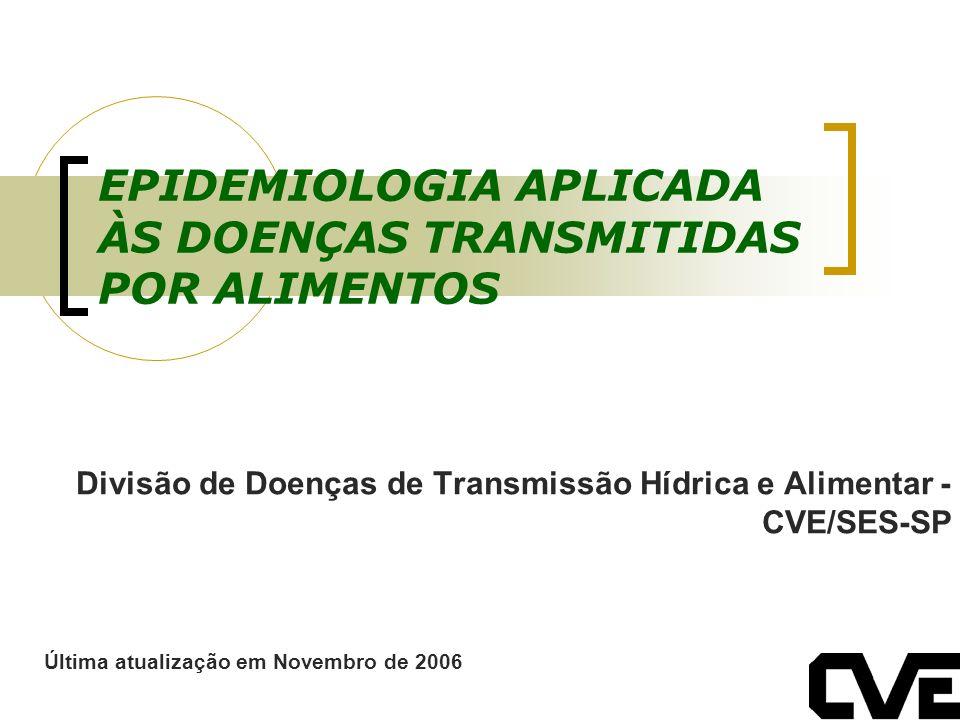 EPIDEMIOLOGIA APLICADA ÀS DOENÇAS TRANSMITIDAS POR ALIMENTOS Divisão de Doenças de Transmissão Hídrica e Alimentar - CVE/SES-SP Última atualização em
