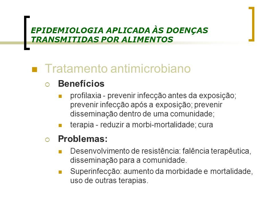 EPIDEMIOLOGIA APLICADA ÀS DOENÇAS TRANSMITIDAS POR ALIMENTOS Tratamento antimicrobiano Benefícios profilaxia - prevenir infecção antes da exposição; p
