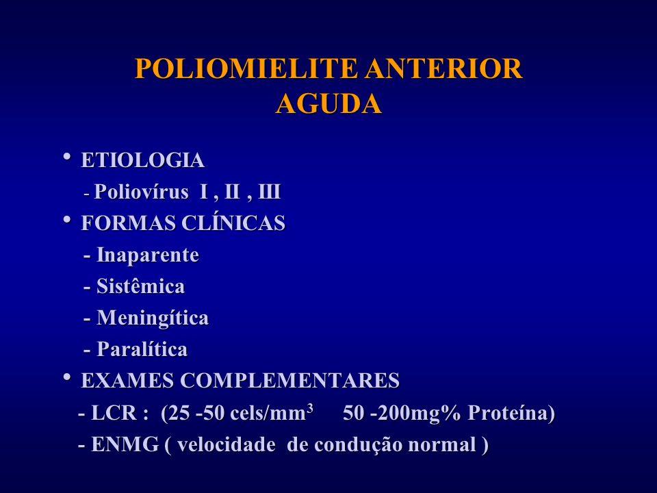 POLIOMIELITE ANTERIOR AGUDA ETIOLOGIA ETIOLOGIA - Poliovírus I, II, III - Poliovírus I, II, III FORMAS CLÍNICAS FORMAS CLÍNICAS - Inaparente - Inapare