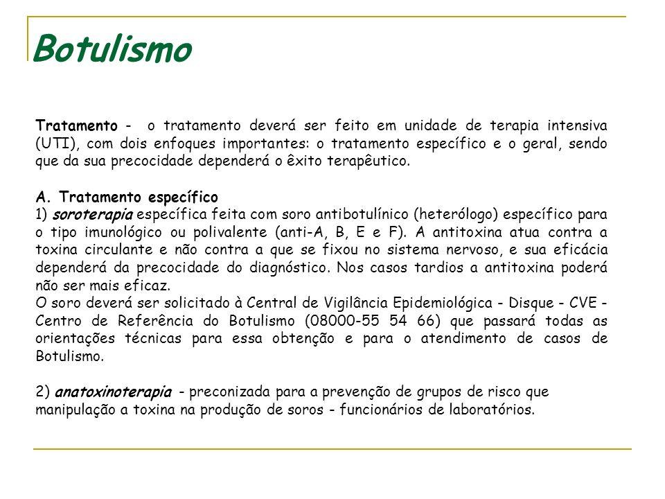 Botulismo d. De origem animal - mariscos e peixes tropicais, ciguatera poisoning (barracuda), triquinelose. e. De origem química - pesticidas clorados