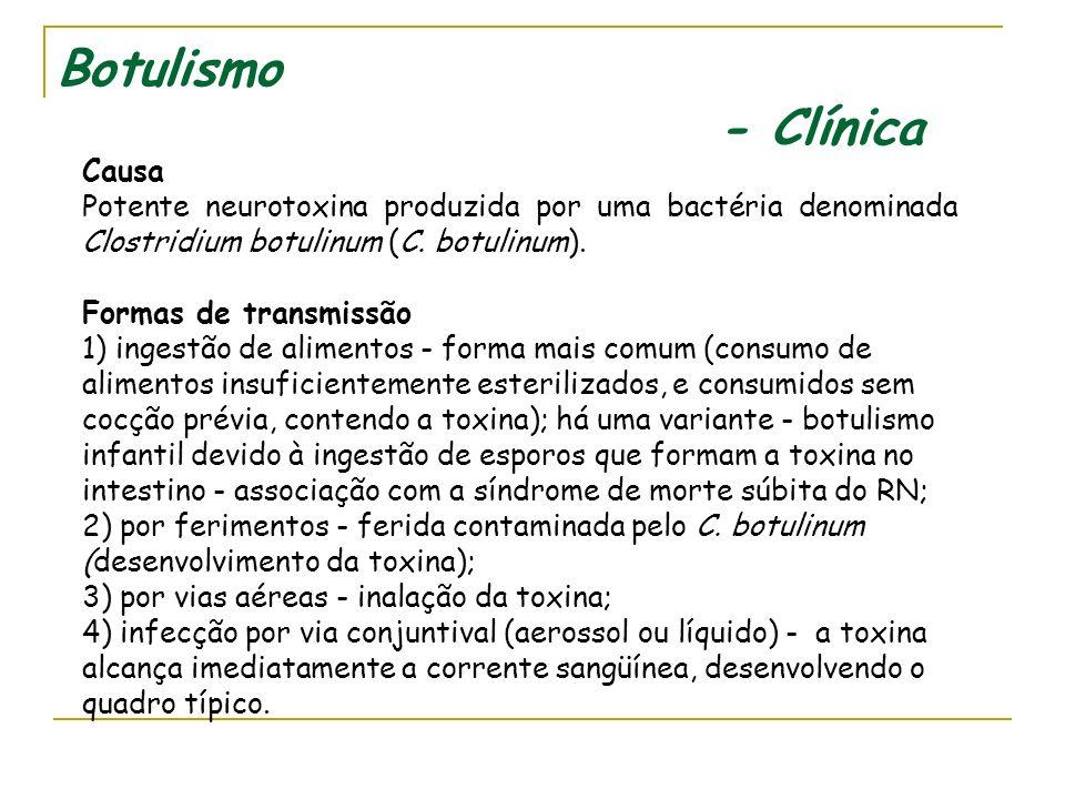 BOTULISMO CLÍNICA E EPIDEMIOLOGIA Divisão de Doenças de Transmissão Hídrica e Alimentar - DDTHA Última atualização - Novembro de 2006