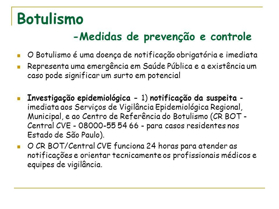 Distribuição de casos de Botulismo por mês e ano de ocorrência, por município de residência, e alimentos implicados, Estado de São Paulo, 1979-2006 -