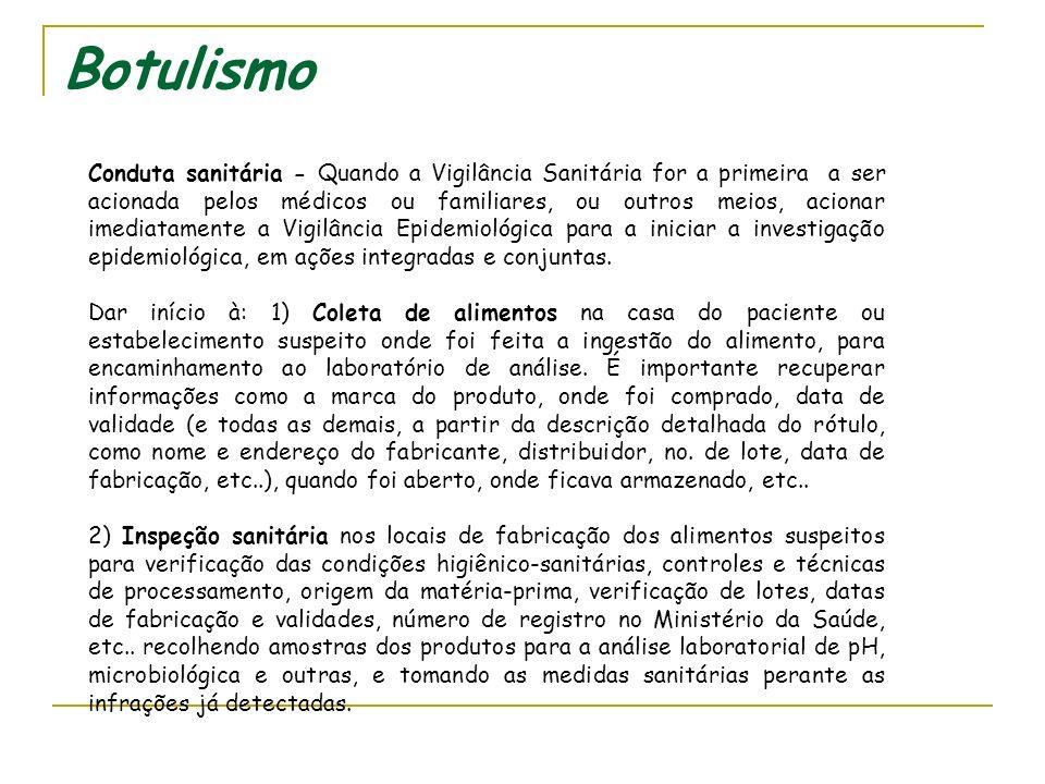 Botulismo 3) Vigilância e acompanhamento do paciente e familiares e outros (quadro clínico do paciente, resultados dos exames laboratoriais realizados