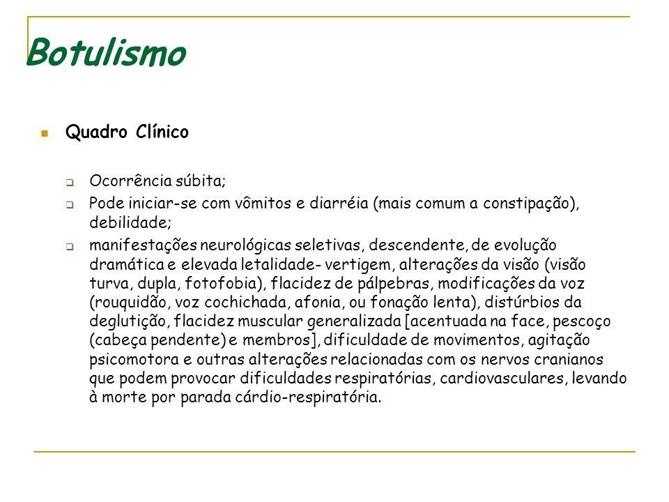 Botulismo - Clínica Causa Potente neurotoxina produzida por uma bactéria denominada Clostridium botulinum (C. botulinum). Formas de transmissão 1) ing