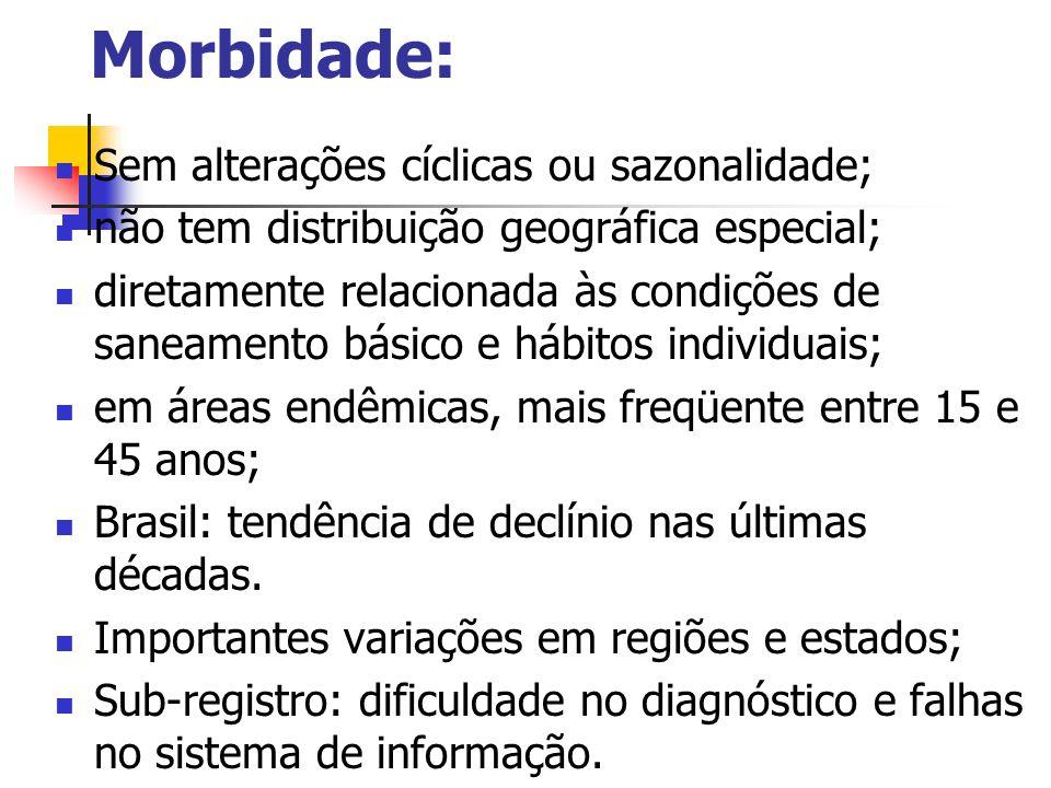 Morbidade: Sem alterações cíclicas ou sazonalidade; não tem distribuição geográfica especial; diretamente relacionada às condições de saneamento básic