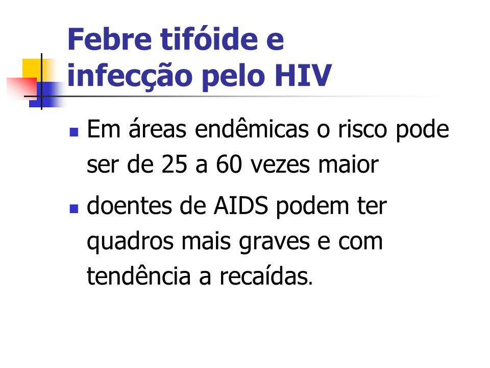 Febre tifóide e infecção pelo HIV Em áreas endêmicas o risco pode ser de 25 a 60 vezes maior doentes de AIDS podem ter quadros mais graves e com tendê