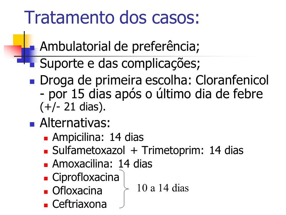 Tratamento dos casos: Ambulatorial de preferência; Suporte e das complicações; Droga de primeira escolha: Cloranfenicol - por 15 dias após o último di