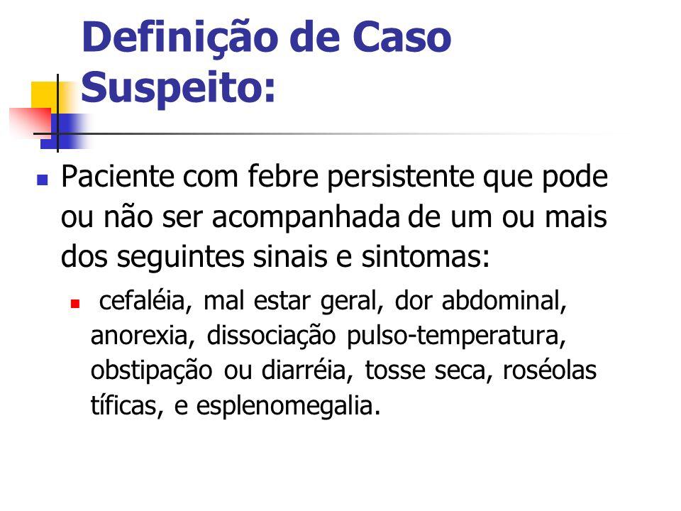 Definição de Caso Suspeito: Paciente com febre persistente que pode ou não ser acompanhada de um ou mais dos seguintes sinais e sintomas: cefaléia, ma