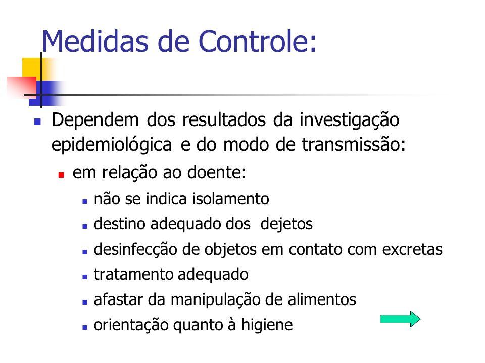 Medidas de Controle: Dependem dos resultados da investigação epidemiológica e do modo de transmissão: em relação ao doente: não se indica isolamento d