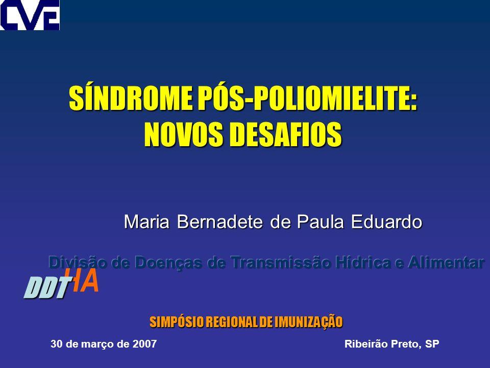 SÍNDROME PÓS-POLIOMIELITE: NOVOS DESAFIOS Maria Bernadete de Paula Eduardo SIMPÓSIO REGIONAL DE IMUNIZAÇÃO SIMPÓSIO REGIONAL DE IMUNIZAÇÃO 30 de março