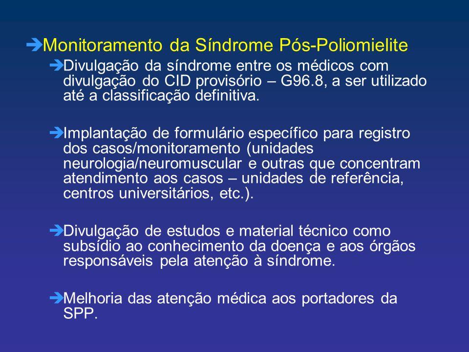 èMonitoramento da Síndrome Pós-Poliomielite èDivulgação da síndrome entre os médicos com divulgação do CID provisório – G96.8, a ser utilizado até a c