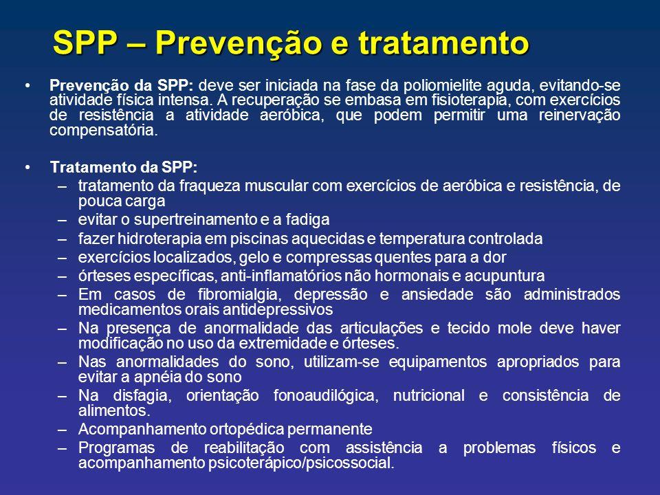SPP – Prevenção e tratamento Prevenção da SPP: deve ser iniciada na fase da poliomielite aguda, evitando-se atividade física intensa. A recuperação se