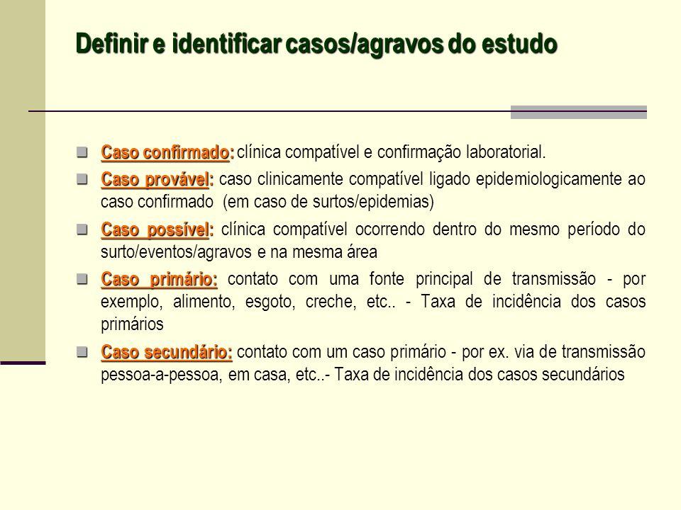 Definir e identificar casos/agravos do estudo Caso confirmado: Caso confirmado: clínica compatível e confirmação laboratorial. Caso provável: Caso pro