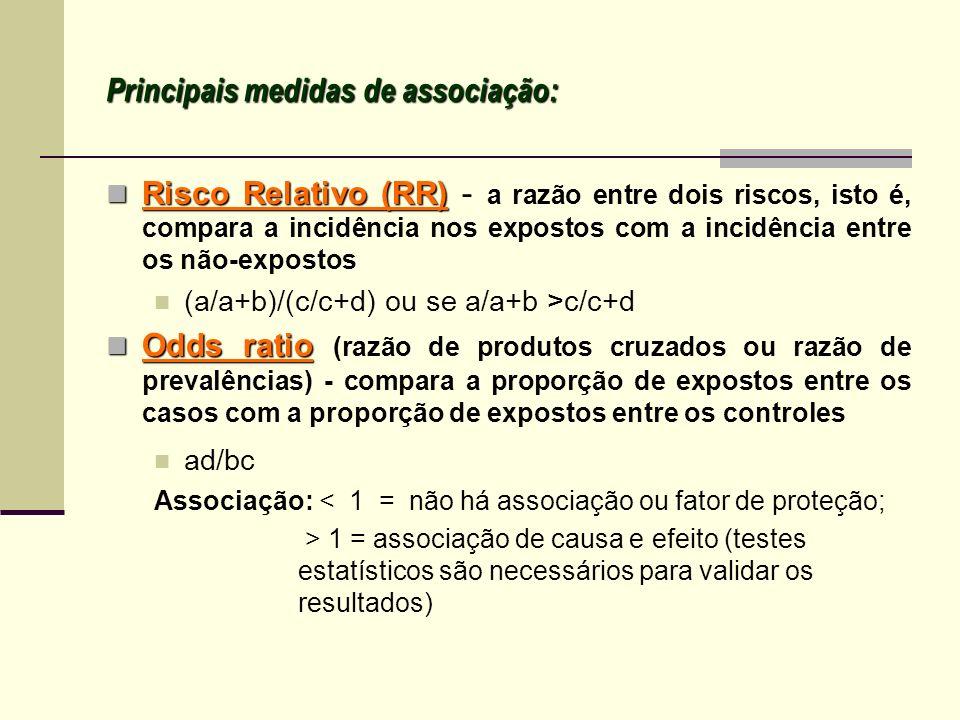 Principais medidas de associação: Risco Relativo (RR) Risco Relativo (RR) - a razão entre dois riscos, isto é, compara a incidência nos expostos com a