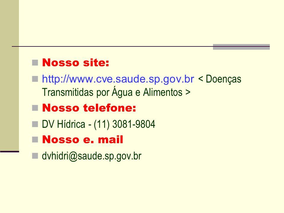 Nosso site: http://www.cve.saude.sp.gov.br Nosso telefone: DV Hídrica - (11) 3081-9804 Nosso e. mail dvhidri@saude.sp.gov.br