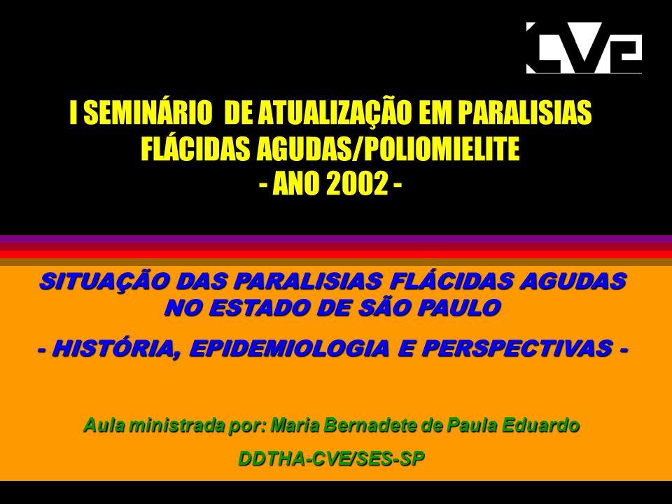 VIGILÂNCIA DAS PARALISIAS FLÁCIDAS AGUDAS - POLIOMIELITE HISTÓRICO: ] 1962 - início da aplicação da Vacina Sabin no estado de São Paulo ] 1964 - implantado o Programa de Vacinação de rotina no estado de São Paulo ] 1968 - início das primeiras atividades de VE da poliomielite em nível nacional - FUNDAÇÃO DE SERVIÇOS ESPECIAS DE SAÚDE PÚBLICA - notificação obrigatória semanal -SECRETARIAS ESTADUAIS DE SAÚDE ] 1968 - Caderneta de Vacinação entra em vigor no ESP e a matrícula na escola fica condicionada a sua apresentação ] 1970 - Dec.