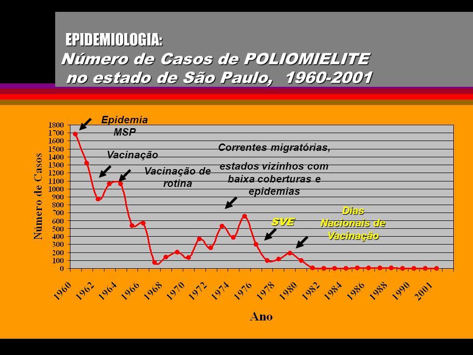 EPIDEMIOLOGIA: Número de Casos de POLIOMIELITE no estado de São Paulo, 1960-2001 EPIDEMIOLOGIA: Número de Casos de POLIOMIELITE no estado de São Paulo