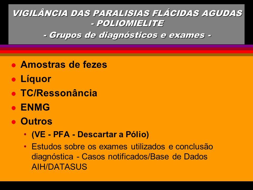 l Amostras de fezes l Líquor l TC/Ressonância l ENMG l Outros (VE - PFA - Descartar a Pólio) Estudos sobre os exames utilizados e conclusão diagnóstic