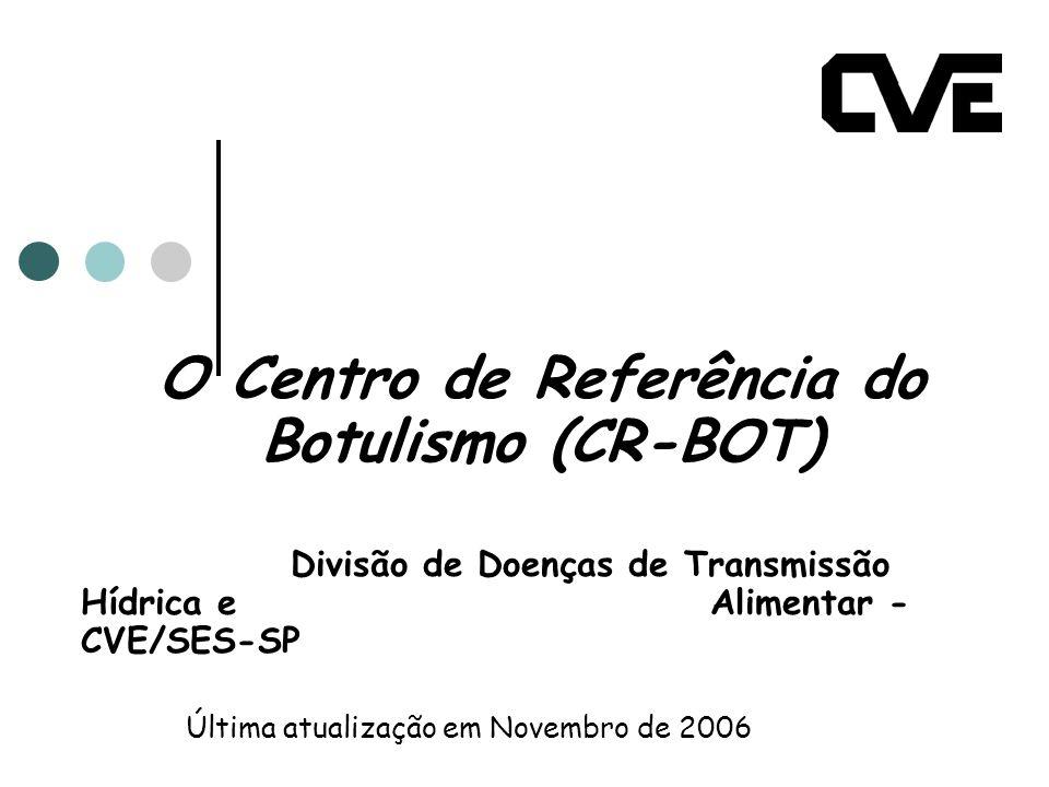 O Centro de Referência do Botulismo (CR-BOT) Divisão de Doenças de Transmissão Hídrica e Alimentar - CVE/SES-SP Última atualização em Novembro de 2006