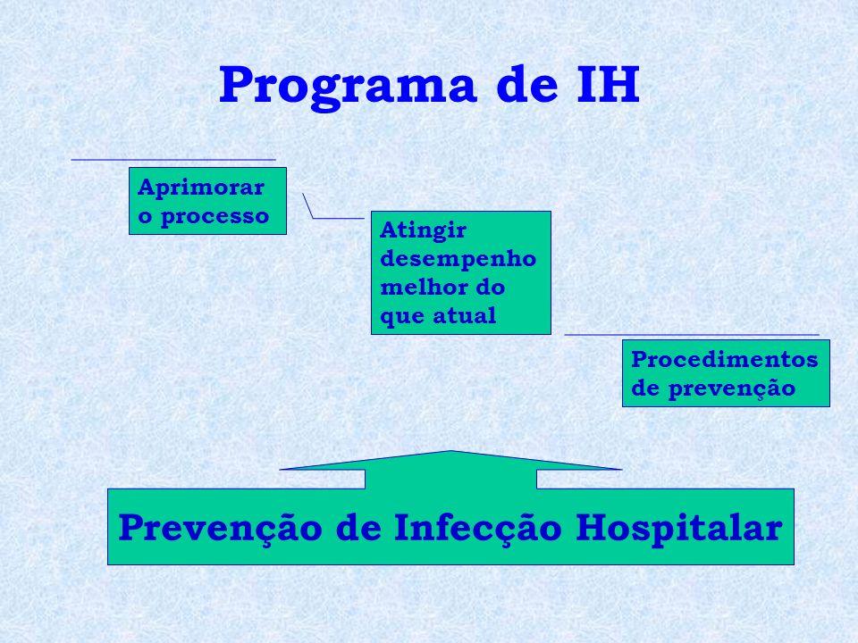 Programa de IH Aprimorar o processo Atingir desempenho melhor do que atual Procedimentos de prevenção Prevenção de Infecção Hospitalar