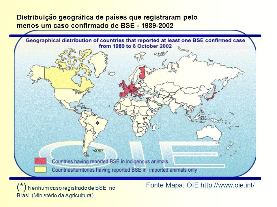 Distribuição geográfica de países que registraram pelo menos um caso confirmado de BSE - 1989-2002 Fonte Mapa: OIE http://www.oie.int/ (*) Nenhum caso