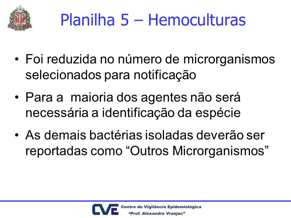 Planilha 5 – Hemoculturas Foi reduzida no número de microrganismos selecionados para notificação Para a maioria dos agentes não será necessária a iden