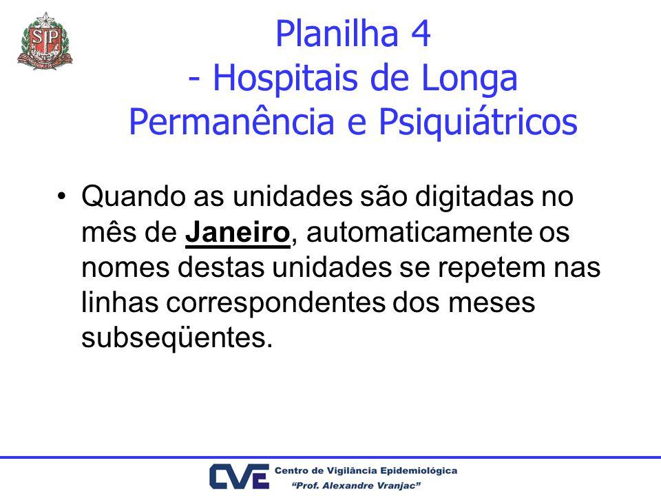 Planilha 4 - Hospitais de Longa Permanência e Psiquiátricos Quando as unidades são digitadas no mês de Janeiro, automaticamente os nomes destas unidad