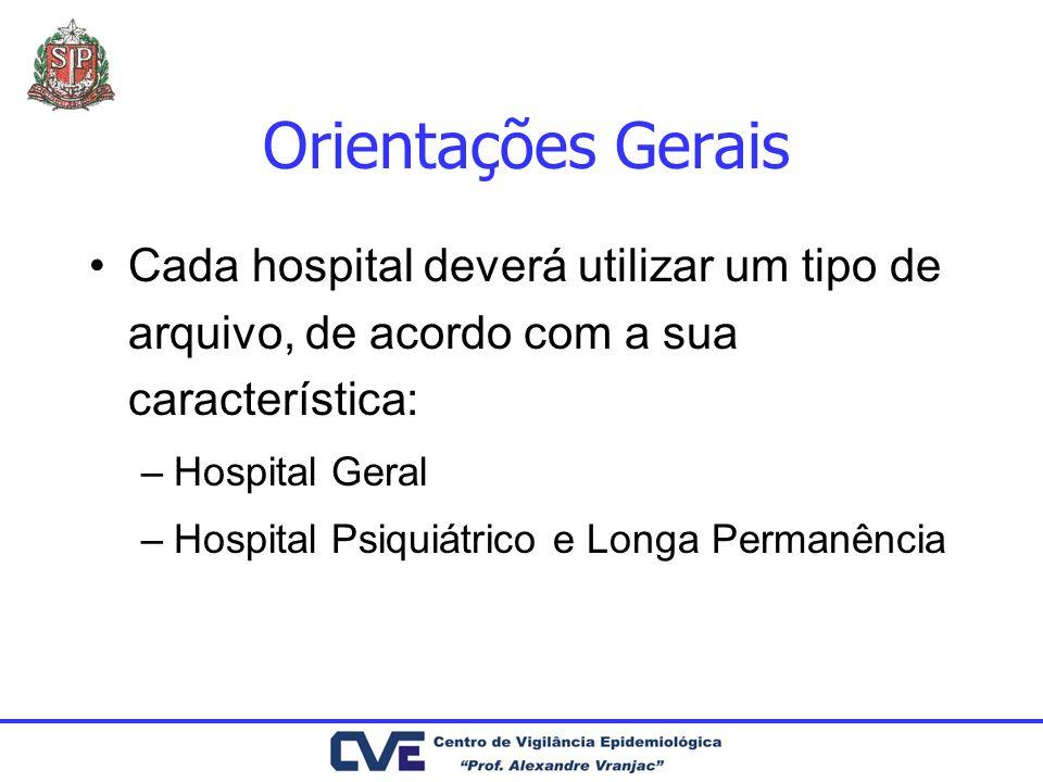 Orientações Gerais Cada hospital deverá utilizar um tipo de arquivo, de acordo com a sua característica: –Hospital Geral –Hospital Psiquiátrico e Long