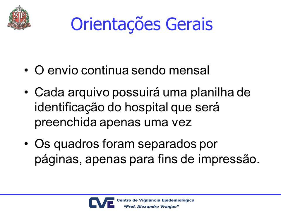 Orientações Gerais O envio continua sendo mensal Cada arquivo possuirá uma planilha de identificação do hospital que será preenchida apenas uma vez Os