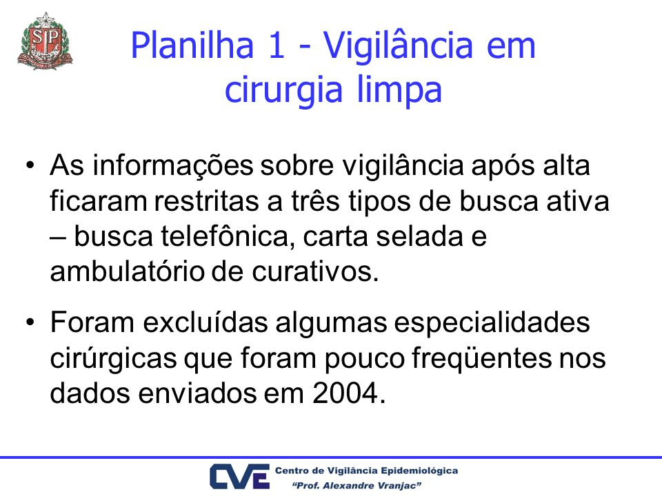 Planilha 1 - Vigilância em cirurgia limpa As informações sobre vigilância após alta ficaram restritas a três tipos de busca ativa – busca telefônica,
