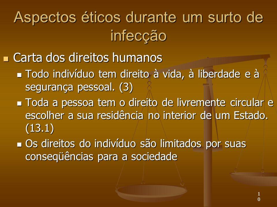 10 Aspectos éticos durante um surto de infecção Carta dos direitos humanos Carta dos direitos humanos Todo indivíduo tem direito à vida, à liberdade e