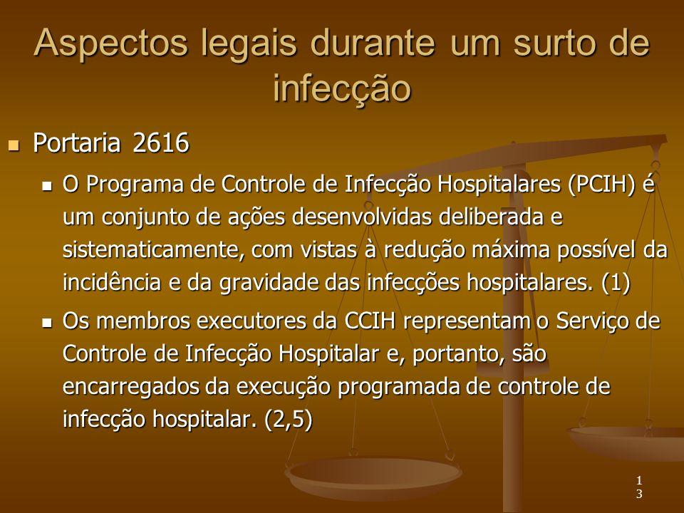 13 Aspectos legais durante um surto de infecção Portaria 2616 Portaria 2616 O Programa de Controle de Infecção Hospitalares (PCIH) é um conjunto de aç