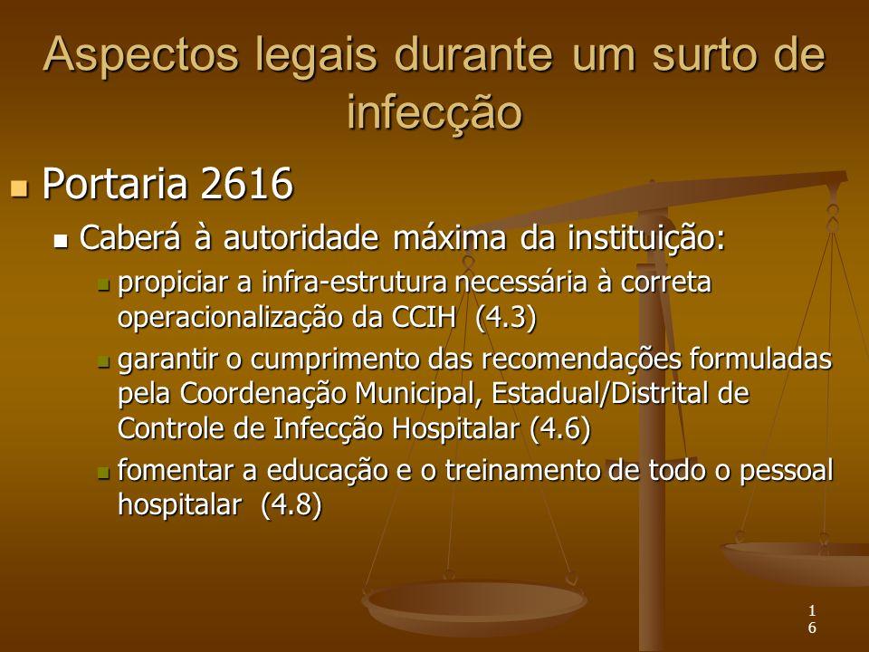 16 Aspectos legais durante um surto de infecção Portaria 2616 Portaria 2616 Caberá à autoridade máxima da instituição: Caberá à autoridade máxima da i