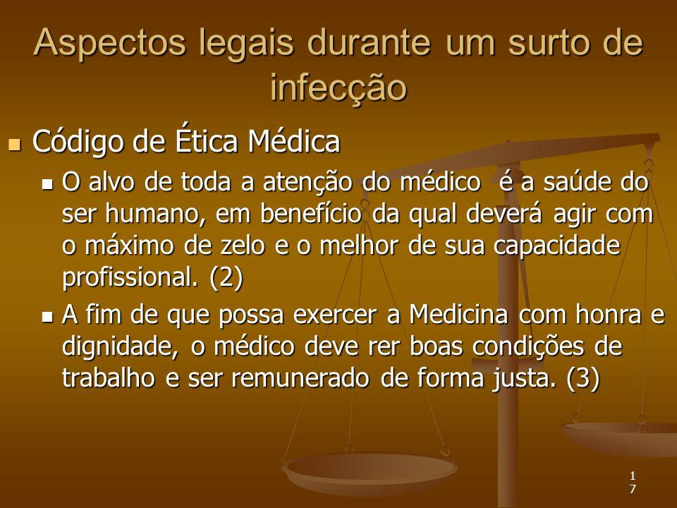 17 Aspectos legais durante um surto de infecção Código de Ética Médica Código de Ética Médica O alvo de toda a atenção do médico é a saúde do ser huma