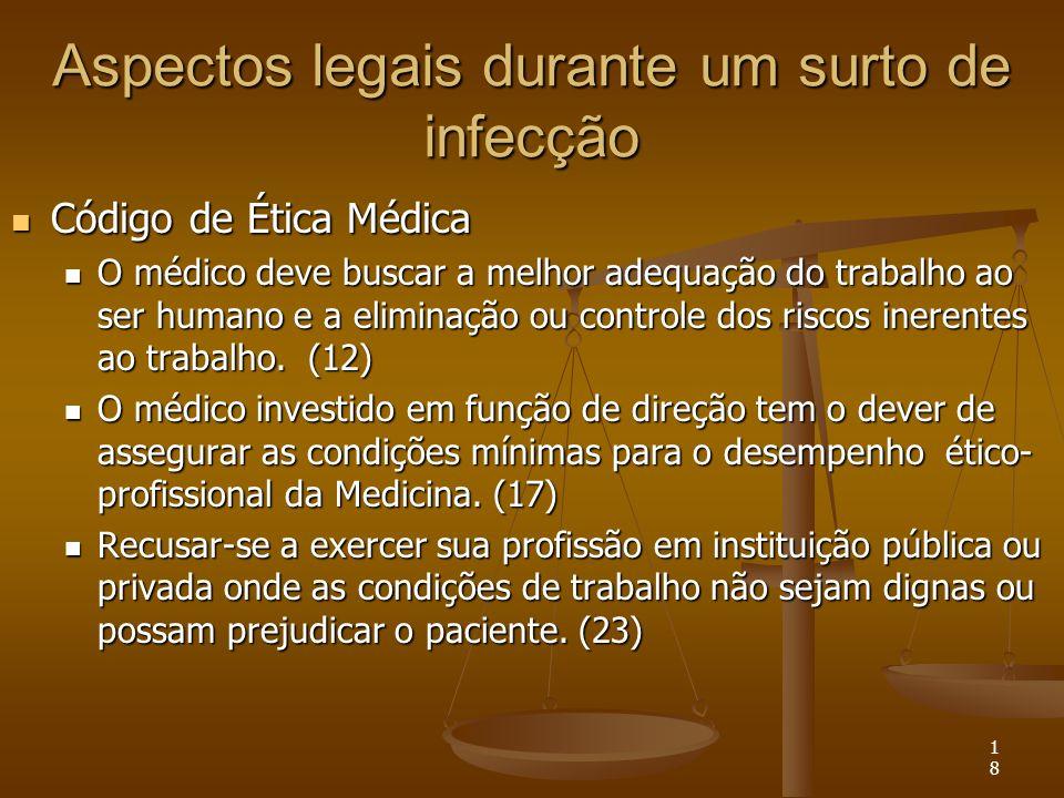 18 Aspectos legais durante um surto de infecção Código de Ética Médica Código de Ética Médica O médico deve buscar a melhor adequação do trabalho ao s