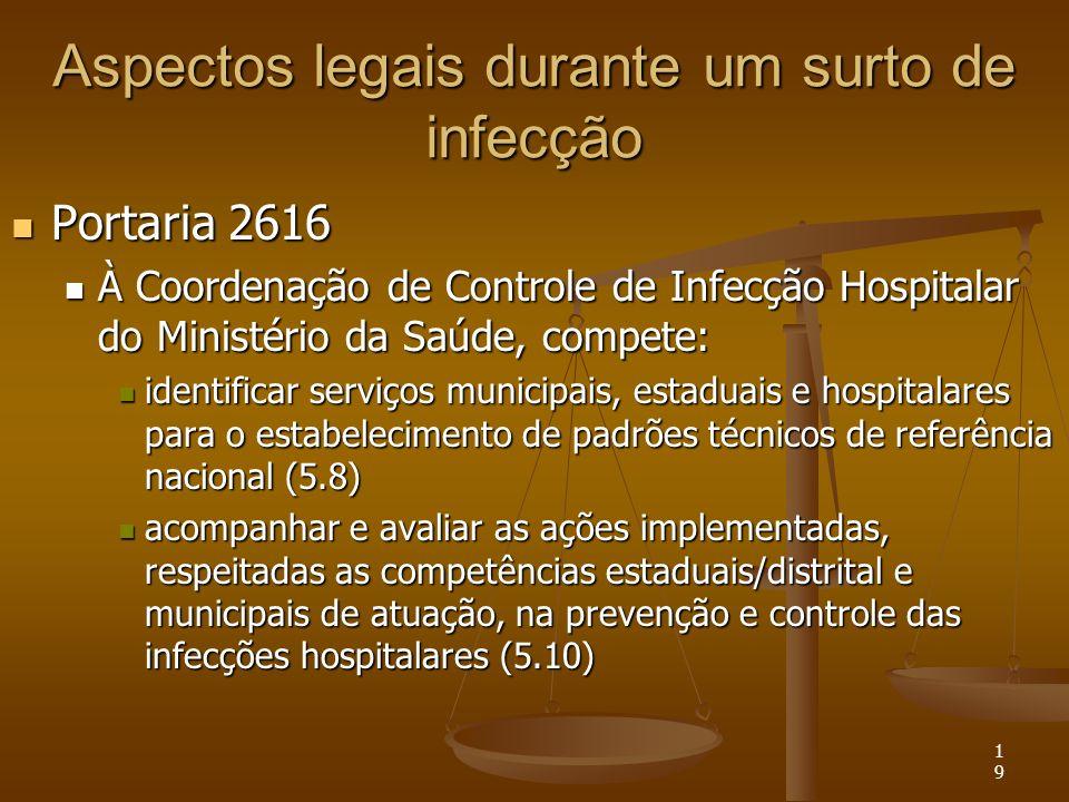 19 Aspectos legais durante um surto de infecção Portaria 2616 Portaria 2616 À Coordenação de Controle de Infecção Hospitalar do Ministério da Saúde, c