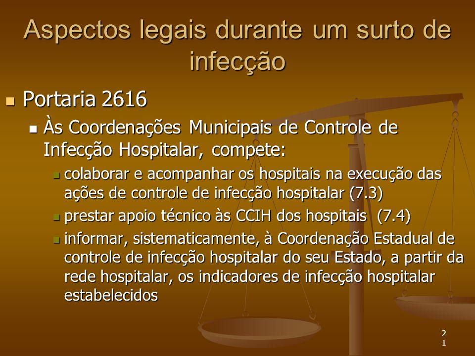 21 Aspectos legais durante um surto de infecção Portaria 2616 Portaria 2616 Às Coordenações Municipais de Controle de Infecção Hospitalar, compete: Às