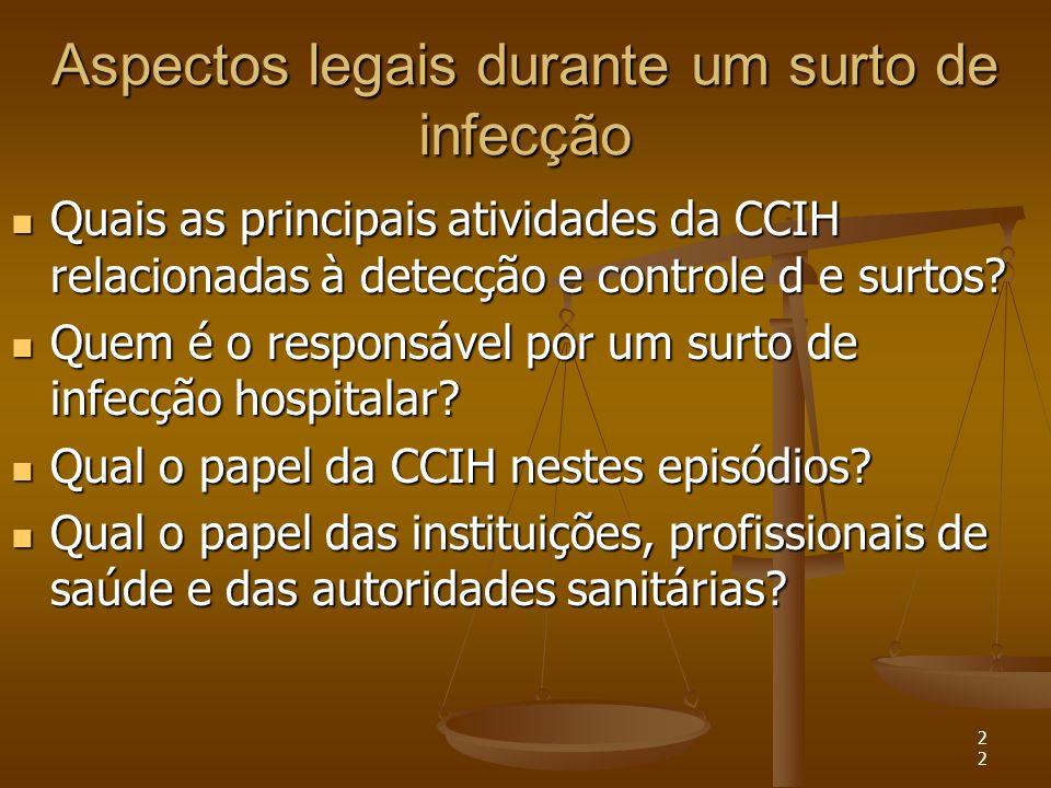22 Aspectos legais durante um surto de infecção Quais as principais atividades da CCIH relacionadas à detecção e controle d e surtos? Quais as princip