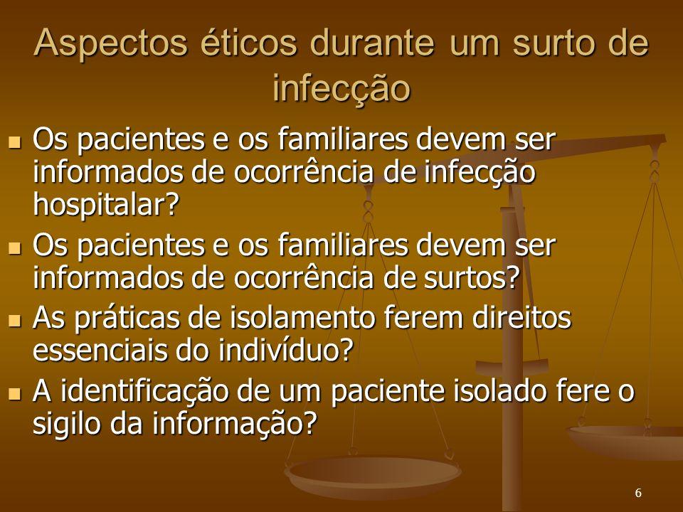 6 Aspectos éticos durante um surto de infecção Os pacientes e os familiares devem ser informados de ocorrência de infecção hospitalar? Os pacientes e